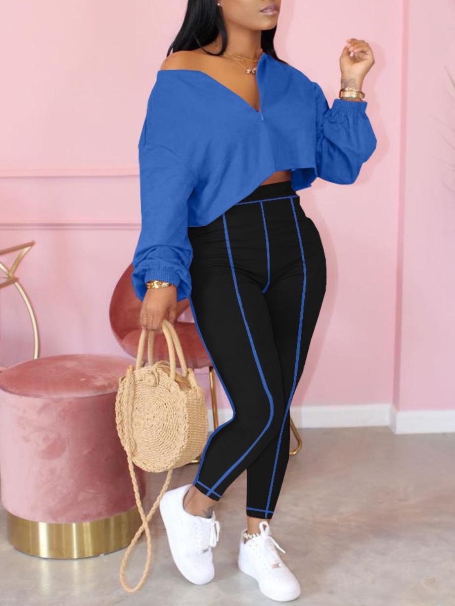 Lovely Leisure Zipper Design Loose Blue Two Piece Pants Set
