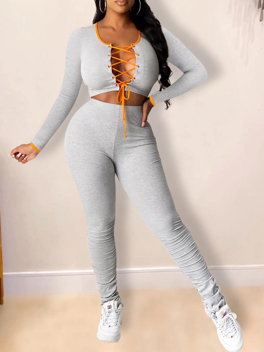 LW Bandage Design Stacked Pants Set