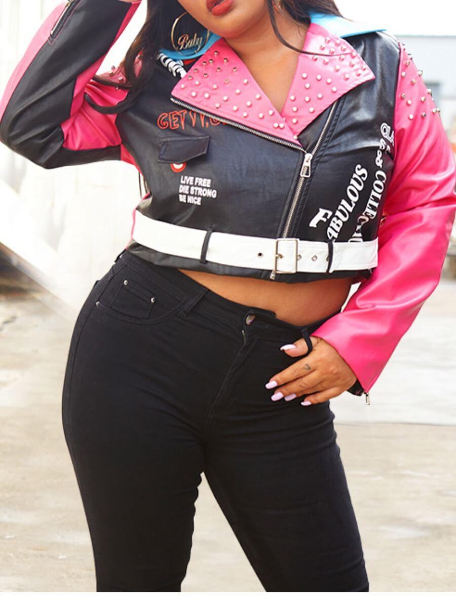 Lovely Chic Patchwork Black PU Plus Size Jacket