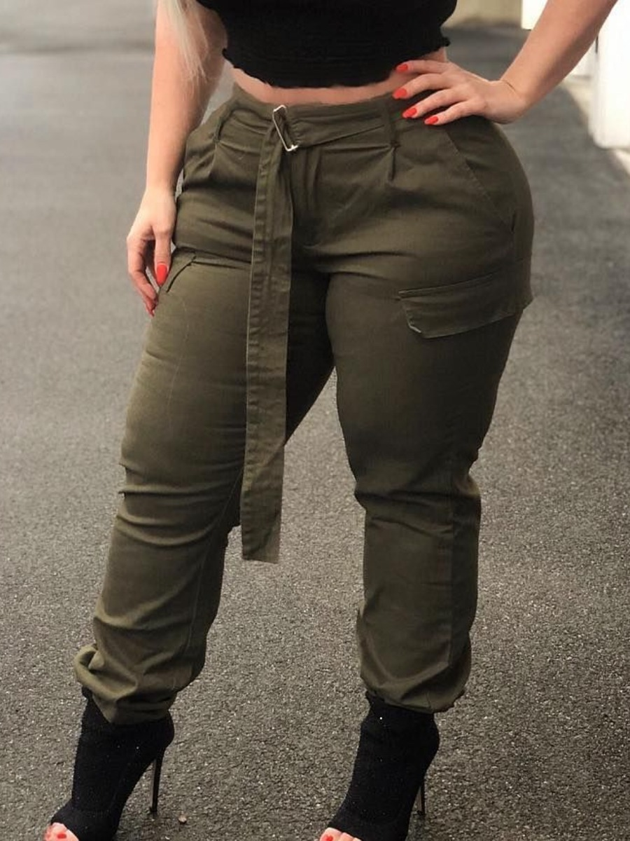 Lovely Chic Basic Army GreenPlus Size Pants фото