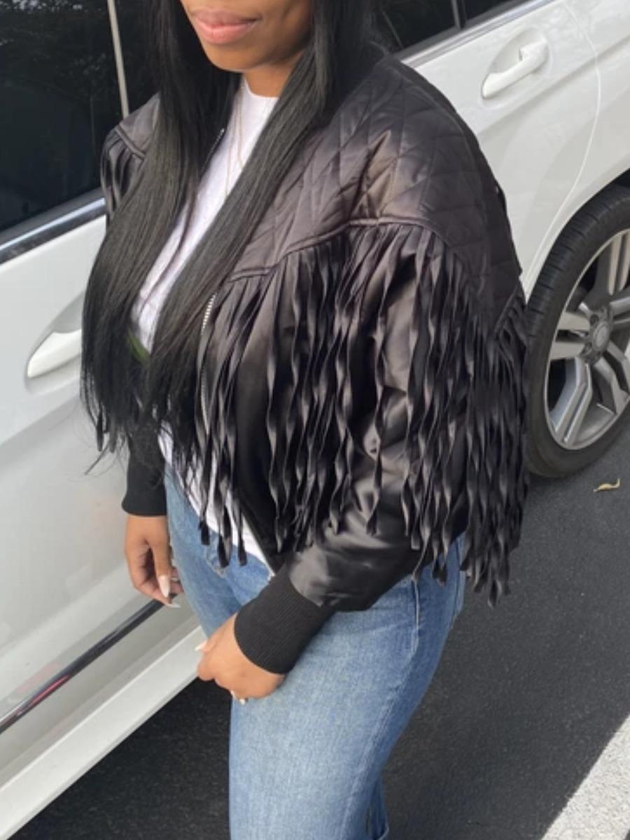 LW Zipper Tassel Design Denim Leather