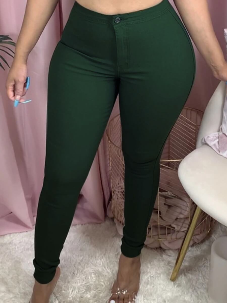 Lovelywholesale coupon: LW BASICS Casual Skinny Green Jeans