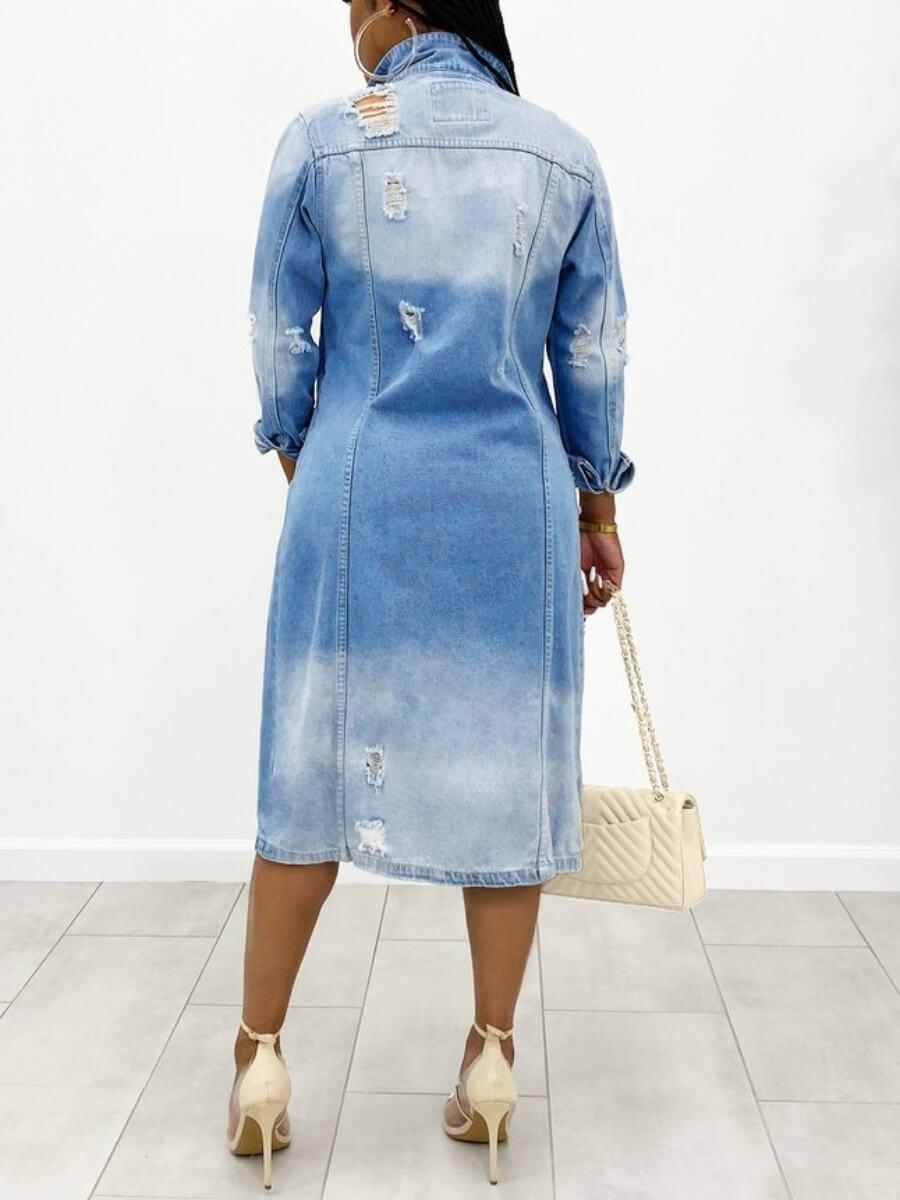 Lovely Trendy Turndown Collar Broken Holes Blue De