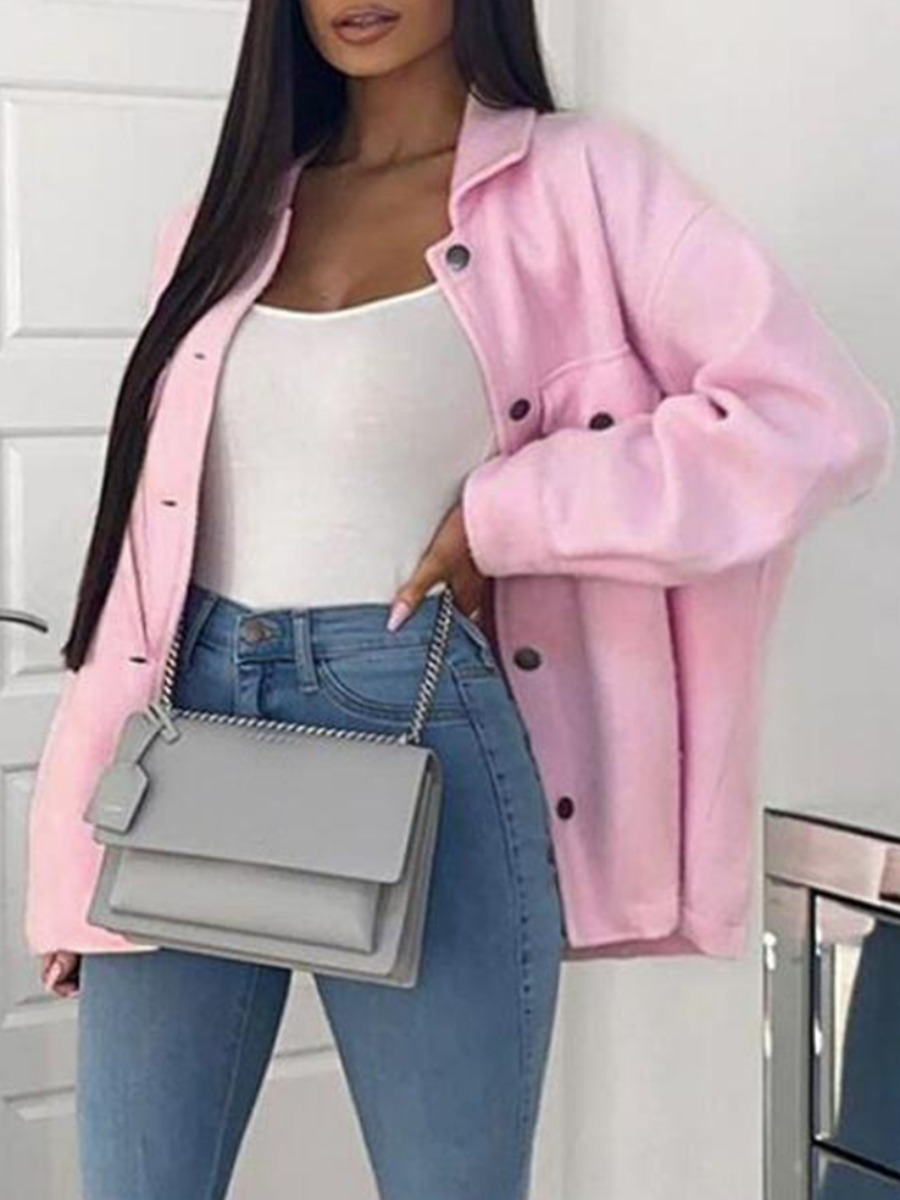 lovely Casual Turndown Collar Buttons Design Pink Jacket