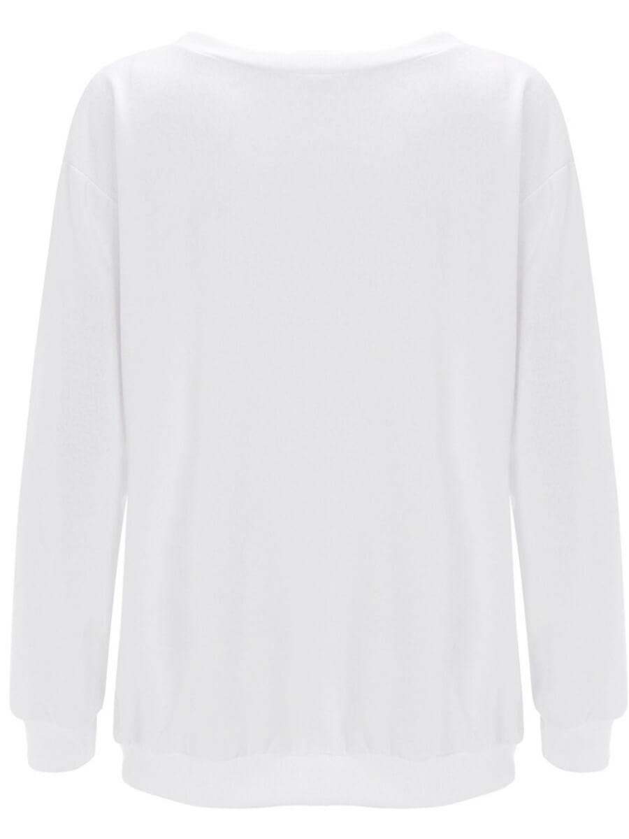 LW Plus Size O Neck Print White Hoodie