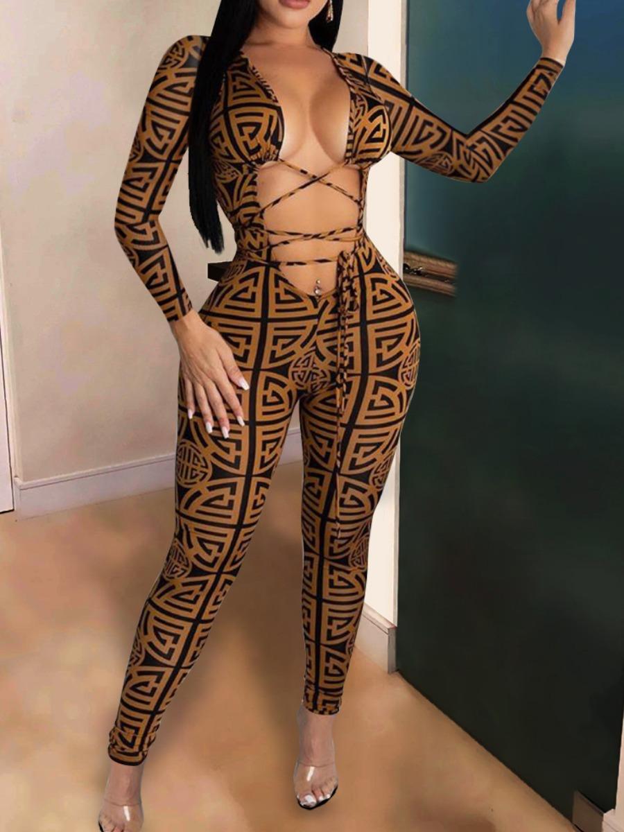 LW Geometric Print Bandage Design Jumpsuit