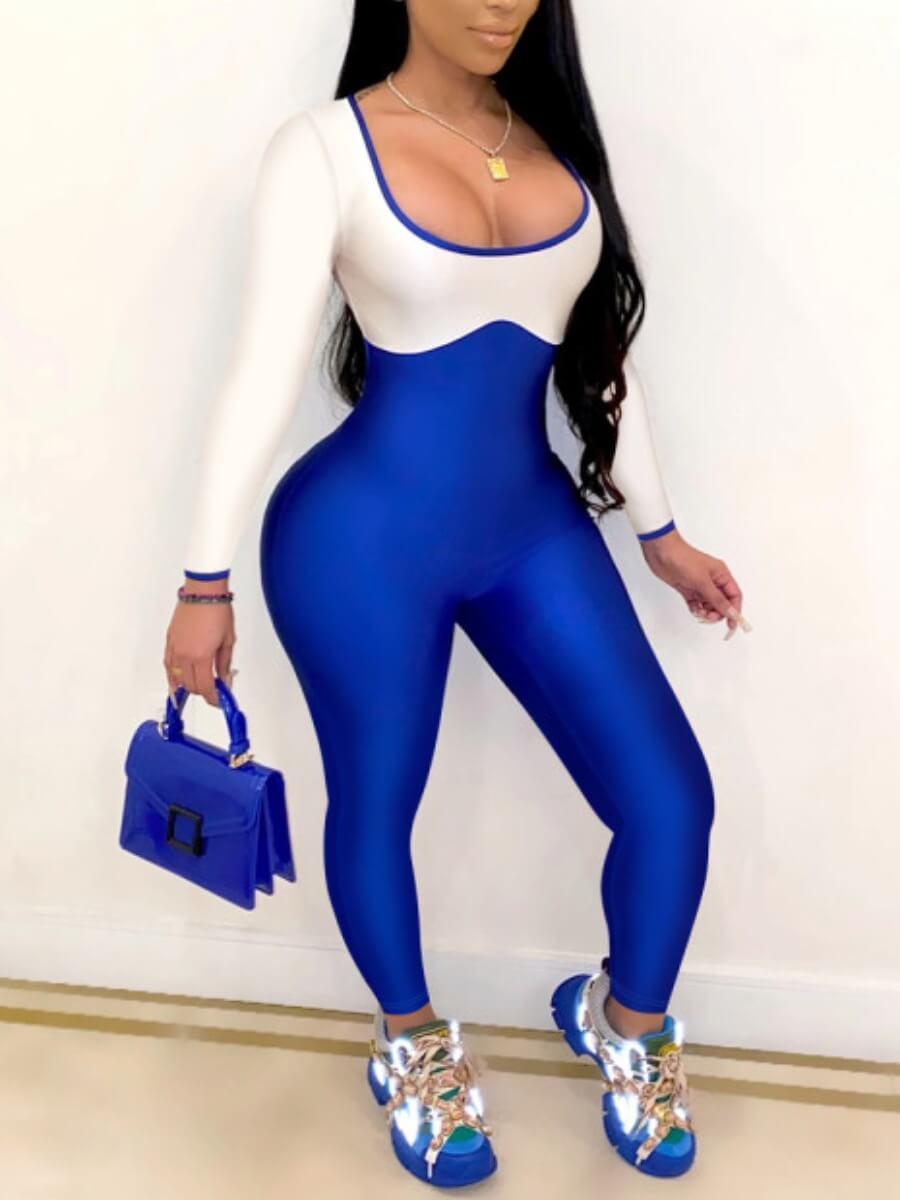 Lovely Sportswear U Neck Patchwork Blue One-piece