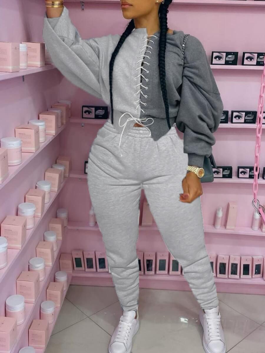 LW Plus Size O Neck Bandage Design Patchwork Pants Set