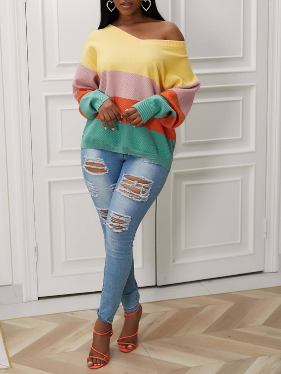 Lovely Street V Neck Rainbow Striped Yellow Sweate