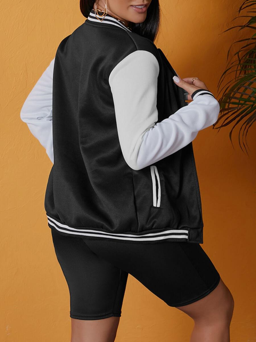 Lovely Casual Patchwork Zipper Design Black Jacket