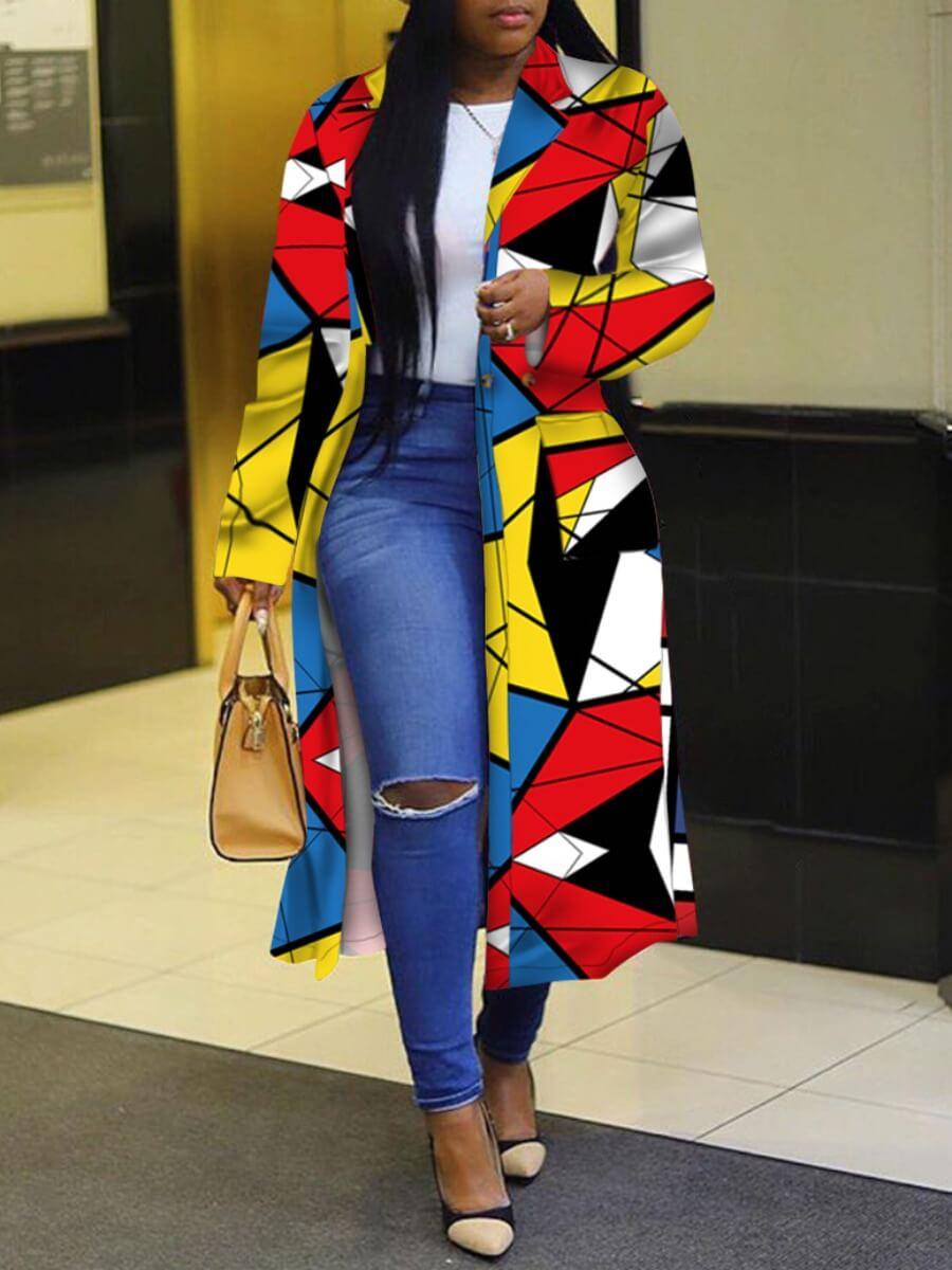 LW Trendy Turndown Collar Print Multicolor Long Trench Coat