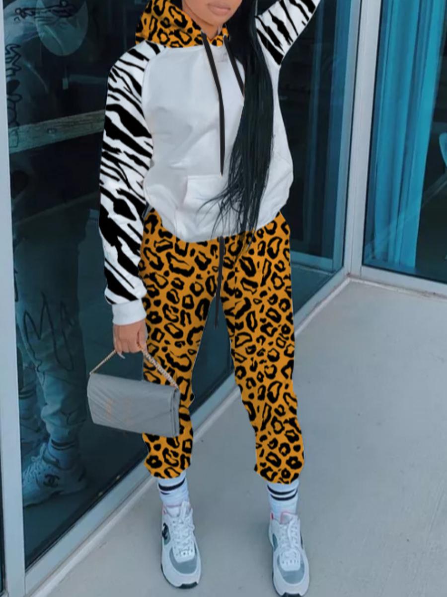 LW Leopard Print Kangaroo Pocket Tracksuit Set