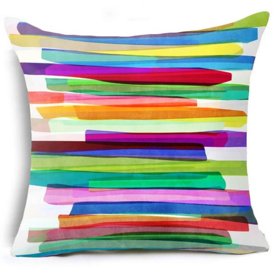 lovely Cosy Rainbow Striped Multicolor Decorative Pillow Case