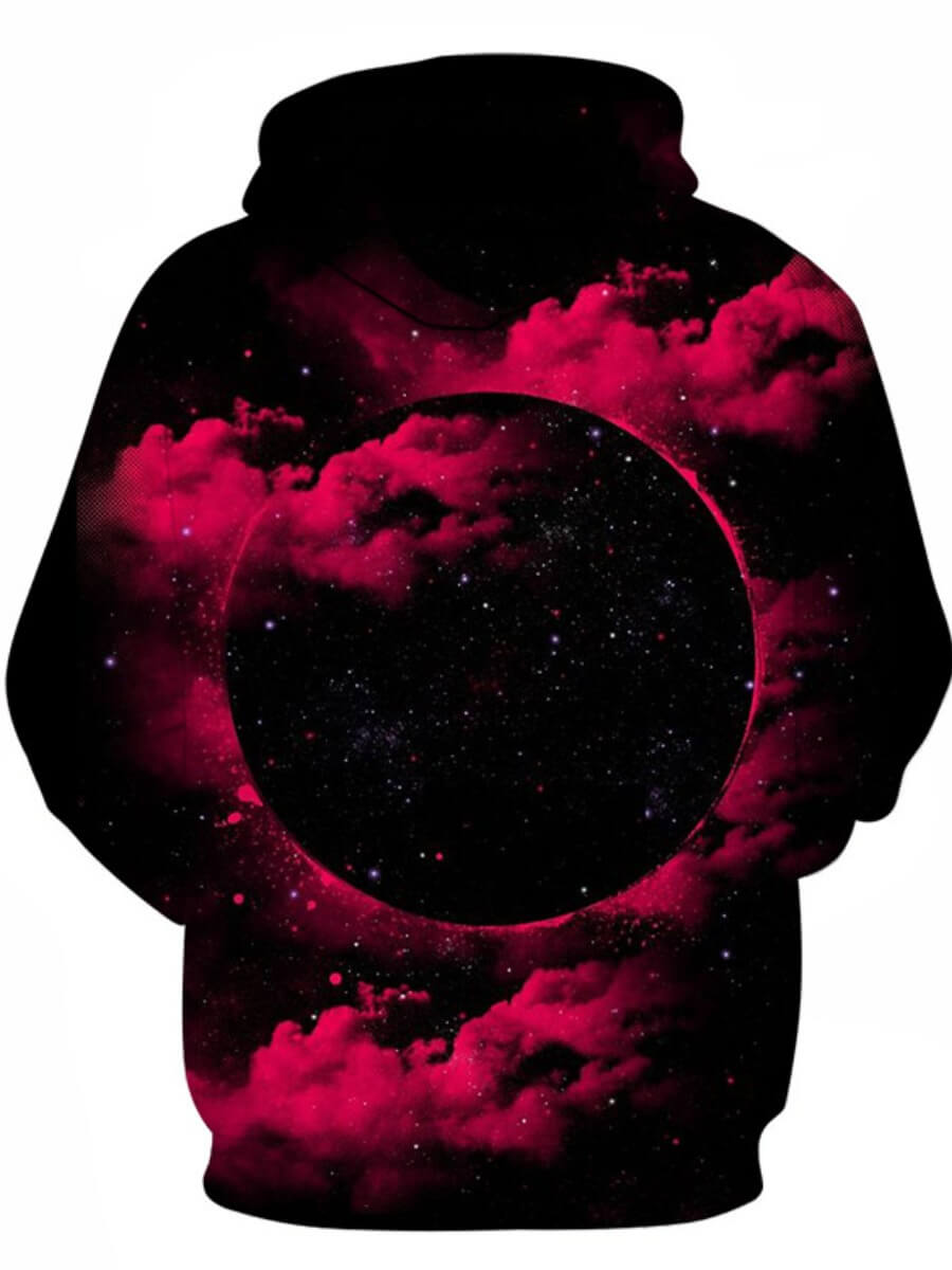 Lovely Stylish Hooded Collar Starry Sky Print Blac