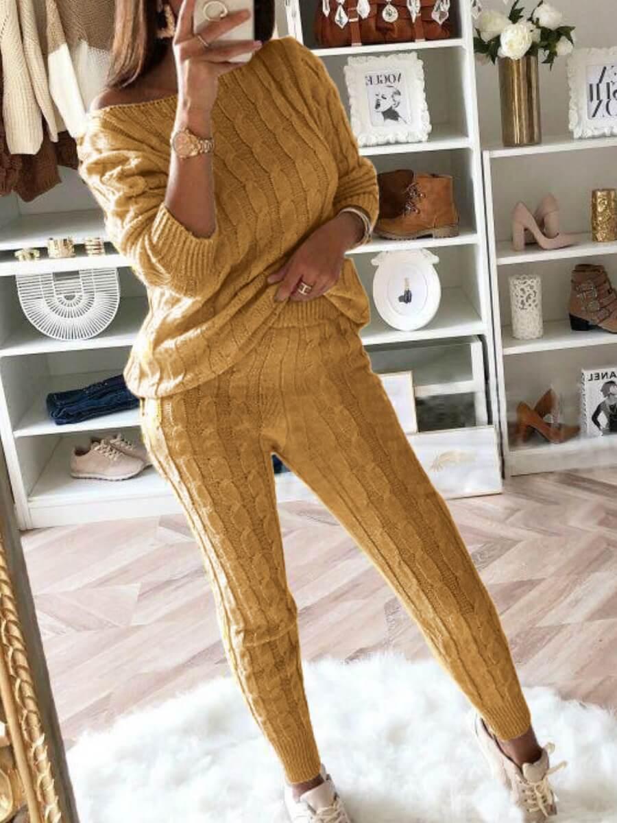 LW BASICS Casual O Neck Striped Deep Yellow Two Piece Pants Set