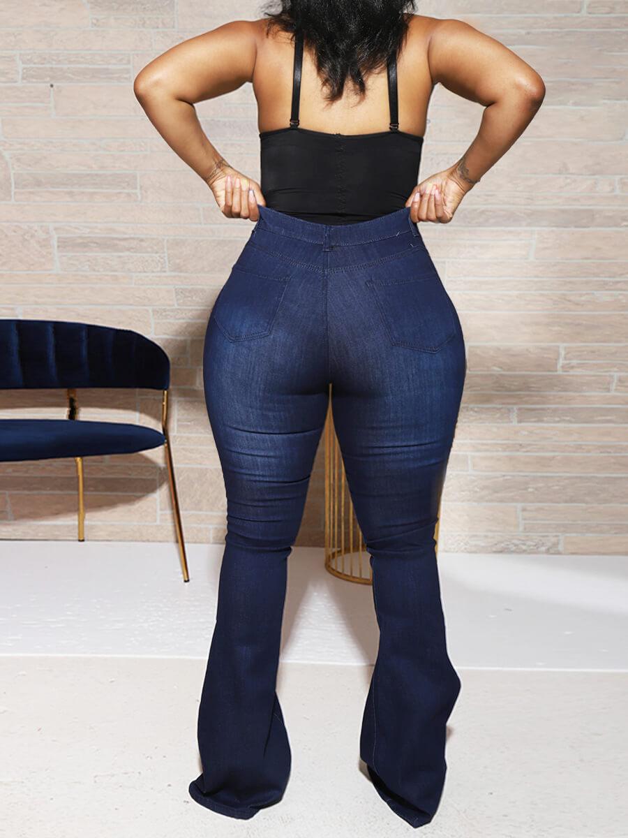 Lovely Casual Heart Print Deep Blue Plus Size Jean