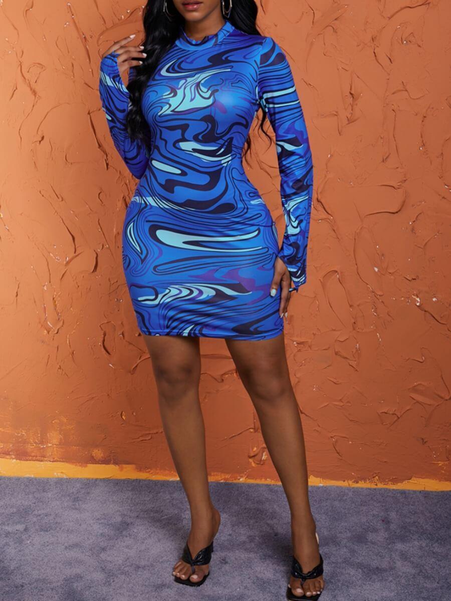 Lovely Casual O Neck Print Blue Knee Length Dress