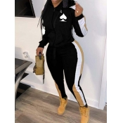 Lovely Leisure Hooded Collar Patchwork Black Plus Size Two-piece Pants Set