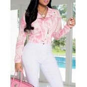 lovely Casual Turndown Collar Print Pink Jacket(Batch Print)