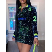 Lovely Trendy Turndown Collar Sequined Green Mini Dress