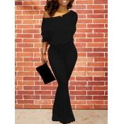 lovely Leisure Basic Black One-piece Jumpsuit