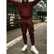 Lovely Casual Hooded Collar Basic Wine Red Men Two-piece Pants Set