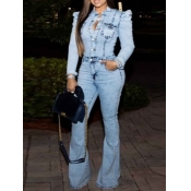 lovely Trendy Pocket Patched Baby Blue Denim One-piece Jumpsuit