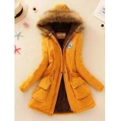 lovely Street Hooded Collar Letter Drawstring Yellow Long Coat