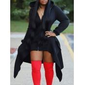 Lovely Casual Hooded Collar Zipper Design Asymmetrical Black Long Coat