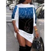 lovely Street O Neck Print White Mini Dress