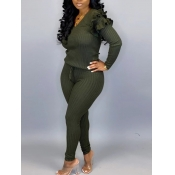 lovely Trendy V Neck Striped Green Plus Size Two-piece Pants Set