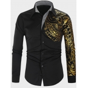 Lovely Trendy Turndown Collar Print Black Men Shir