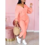 lovely Leisure Zipper Design Pink One-piece Jumpsuit