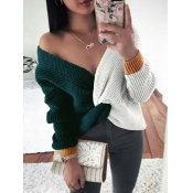 lovely Casual V Neck Patchwork Green Sweater