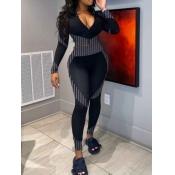 Lovely Sportswear Zipper Design Patchwork BlackTwo Piece Pants Set