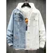 lovely Street Turndown Collar Patchwork Broken Holes Blue Men Denim Jacket