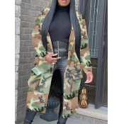 lovely Stylish Turndown Collar Camo Print Army Green Long Trench Coat