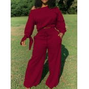 Lovely Casual Lace-up Loose Wine Red Two Piece Pants Set