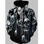Lovely Street Hooded Collar Skull Print Black Men