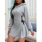 lovely Casual Hooded Collar Bandage Design Grey Mini Dress