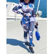 Lovely Sportswear Print Skinny Blue One-piece Jumpsuit