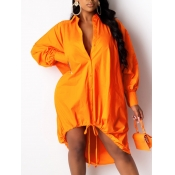 lovely Casual Turndown Collar Loose Drawstring Orange Knee Length Dress
