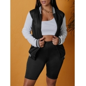 lovely Casual Patchwork Zipper Design Black Jacket