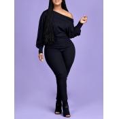 lovely Leisure Basic Skinny Black Plus Size One-piece Jumpsuit