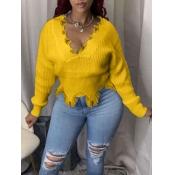 Lovely Trendy V Neck Asymmetrical Yellow Sweater