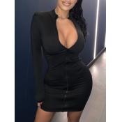 lovely Sportswear Zipper Design Skinny Black Mini
