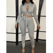 lovely Sexy Bandage Design Hollow-out Grey Two Piece Pants Set