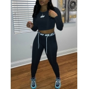 lovely Sportswear O Neck Letter Print Black Two Piece Pants Set
