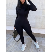 Lovely Sportswear O Neck Basic Skinny Black One-piece Jumpsuit