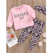 Lovely Stylish O Neck Letter Print Pink Girl Two-piece Pants Set
